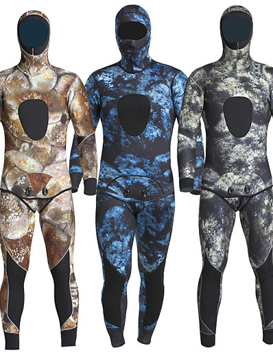 cheap Sportswear-MYLEDI Men's Full Wetsuit 5mm SCR Neoprene Diving Suit Thermal Warm Quick Dry Micro-elastic Long Sleeve 2 Piece Hooded - Swimming Diving Surfing Scuba Camo / Camouflage Autumn / Fall Spring Summer