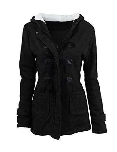 cheap Women's Outerwear-women's casual winter outwear warm coat hooded button toggle coat black xs