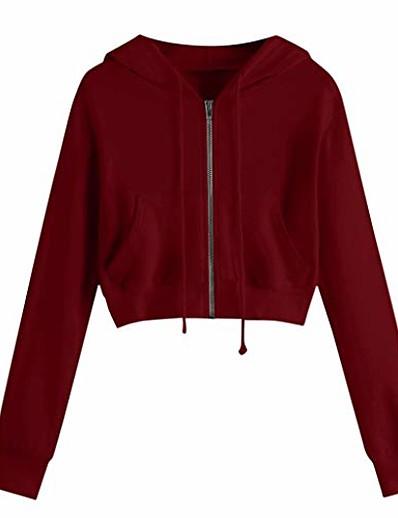 abordables Sweats à capuche et sweat-shirts-Sweat à capuche court zippé pour femmes cordon de serrage à manches longues sport décontracté entraînement crop top sweat veste à capuche vin