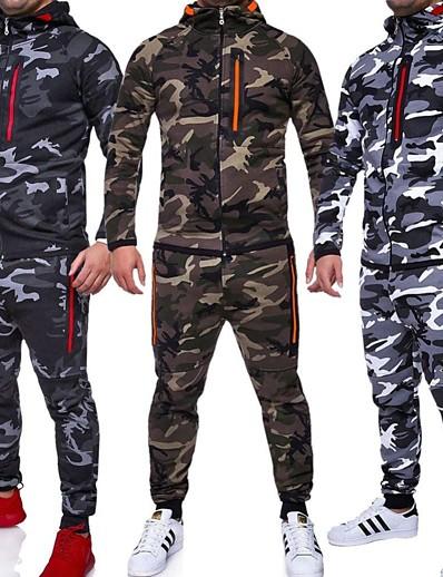 cheap Running, Jogging & Walking-men sets track suit jacket tracksuit sportswear hoodie coat pants sweatsuit gray l