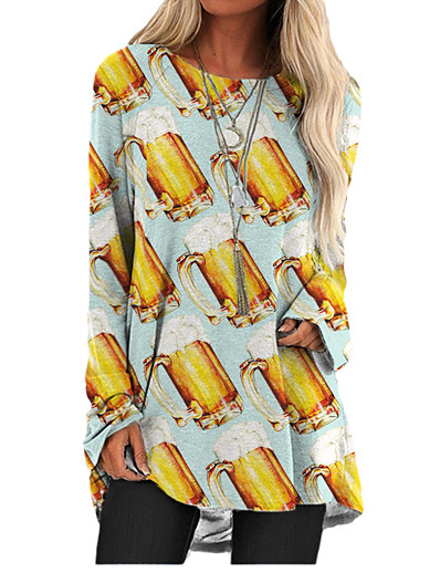 cheap 2021 TRENDS-Women's T Shirt Dress Tee Dress Short Mini Dress - Long Sleeve Print Color Block Print Spring Summer 3D Print Casual 3D Print Light Blue S M L XL XXL 3XL
