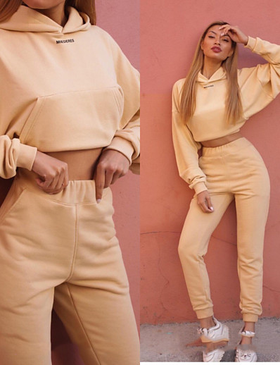 cheap Running, Jogging & Walking-Women's 2 Piece Cropped Tracksuit Sweatsuit Athletic Athleisure 2pcs Winter Long Sleeve Thermal Warm Moisture Wicking Breathable Fitness Gym Workout Running Jogging Exercise Sportswear Solid Colored