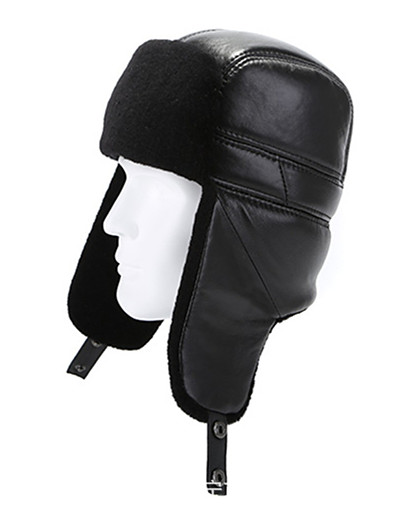 cheap Ski & Snowboard-mumcu's shearling sheepskin leather russian ushanka fur hat (large, black)
