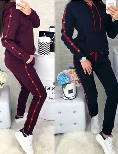 cheap Sports Athleisure-Women's 2 Piece Set Stripe Hoodie Stripes Sport Athleisure Clothing Suit Long Sleeve Breathable Soft Comfortable Exercise & Fitness Everyday Use Daily Outdoor