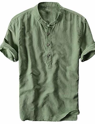 abordables HOMME-Chemise henley en coton et lin pour hommes à manches courtes hippie respirant suspendu en coton décontracté t-shirts de plage