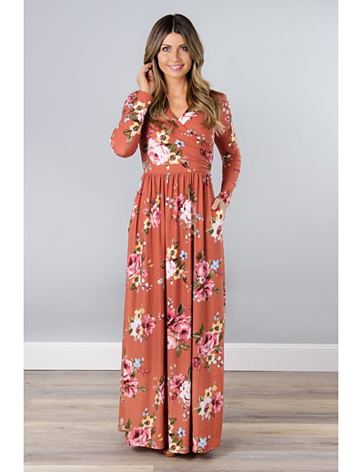 cheap 2021 TRENDS-Women's Swing Dress Maxi long Dress - Long Sleeve Floral Print Spring Elegant 2021 Black Orange Green S M L XL