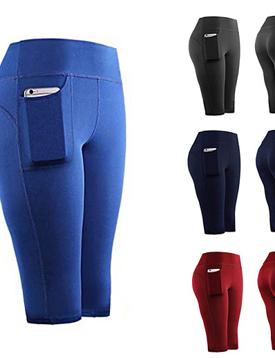 cheap Running, Jogging & Walking-Women's Running Capri Leggings Athletic Tights Capris Bottoms with Phone Pocket Spandex Summer Gym Workout Running Jogging Training Exercise Quick Dry Moisture Wicking Breathable Sport Solid Colored