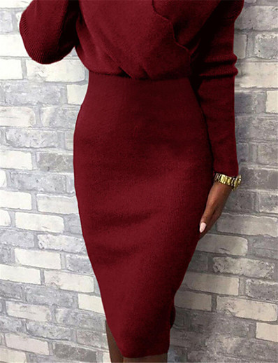 cheap Knee-Length Dresses-Women's Sweater Jumper Dress Knee Length Dress - Long Sleeve Solid Color Patchwork Fall Winter V Neck Casual 2020 Black Red Blushing Pink Camel Green Gray S M L XL XXL
