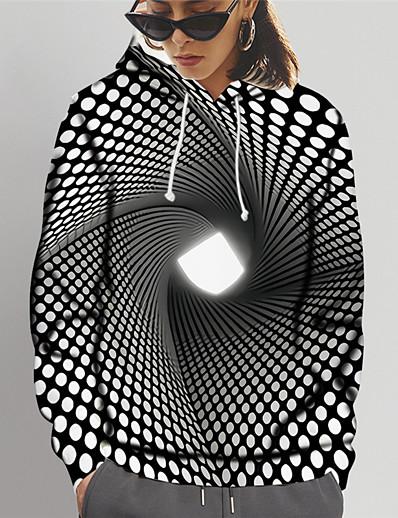 cheap 3D Trends-Women's Pullover Hoodie Sweatshirt Polka Dot 3D Print Daily Sports 3D Print 3D Print Active Hoodies Sweatshirts  Black