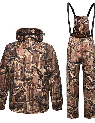 cheap Hunting Clothing-Men's Hoodie Ski Jacket with Pants Hunting Jacket with Pants Outdoor Autumn / Fall Winter Thermal Warm Windproof Fast Dry Quick Dry Clothing Suit Camo / Camouflage Polyester Taffeta Softshell