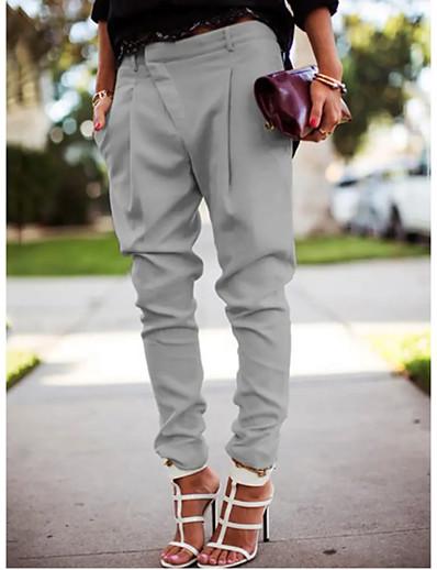 cheap Women's Bottoms-Women's Simple Basic Harem Jogger Pants Office / Career Work Pants Full Length Solid Colored Classic Pocket Asymmetric Blue Gray White Black
