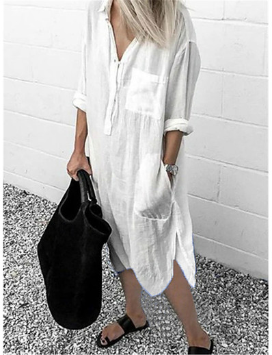 cheap Elegant Dresses-Women's Shirt Dress Midi Dress White Blue Red Yellow Gray Light Blue Long Sleeve Solid Color Split Patchwork Spring Summer Shirt Collar Casual 2021 S M L XL XXL 3XL 4XL 5XL