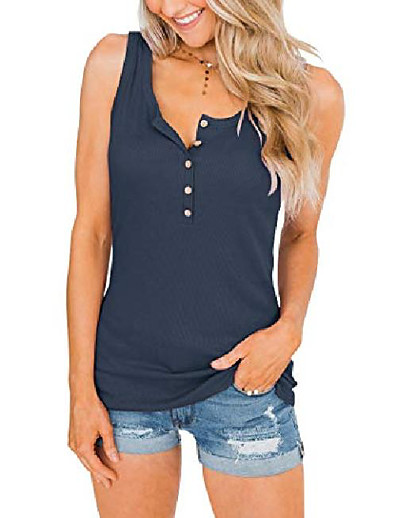 cheap Tank Tops-Women's Summer Henley Tank Tops Scoop Neck Sleeveless Button Up Tees Casual Shirts (Large, Navy)