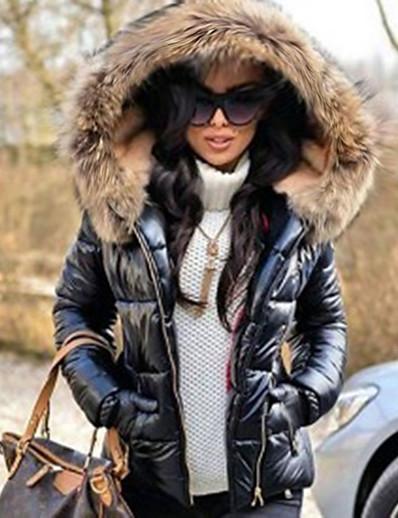 abordables Tendances 2021-parka en duvet noir pour femme veste matelassée hiver chaud épaissir manteau doublé outwear coupe-vent anoraks imperméable…