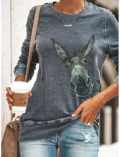 cheap Hoodies & Sweatshirts-kalorywee women long sleeve tops giraffe/donkey funny printed casual sweatshirts crew neck pullover autumn winter jumper