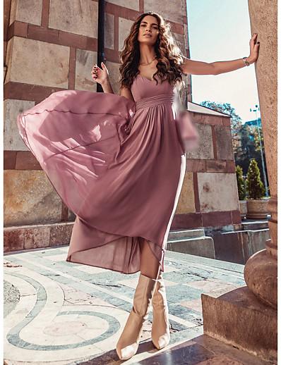cheap Lace Dresses-Women's A-Line Dress Maxi long Dress - Short Sleeve Solid Color Spring Fall Work Elegant 2021 Dusty Rose S M L XL XXL 3XL 4XL