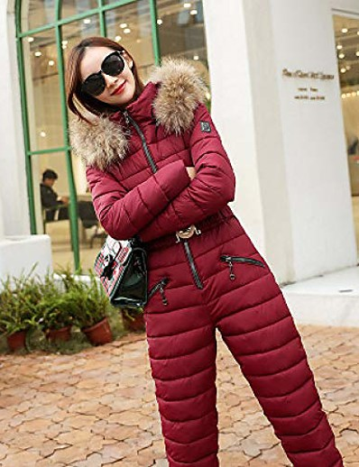 cheap Ski & Snowboard-Ski Suit,GkDDZH Women One Piece Ski Jumpsuit Breathable Snowboard Jacket Skiing Pant Sets Bodysuits Outdoor Snow Suits,Wine Red,M