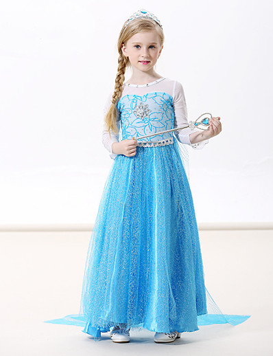 cheap Movie & TV Theme Costumes-Princess Elsa Dress Cosplay Costume Masquerade Girls' Movie Cosplay A-Line Slip Cosplay Vacation Dress Blue Green Blue (With Accessories) Dress Halloween Carnival Masquerade Flannel