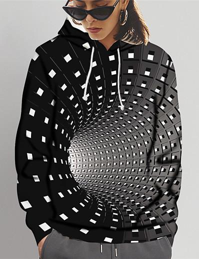 abordables Tendances 3D-Femme Sweat-shirt à capuche 3D Imprimé Quotidien Sports Impression 3D Motifs 3D Simple Pulls Capuche Pulls molletonnés Noir Bleu Violet