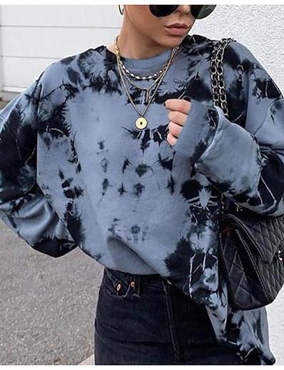 cheap Hoodies & Sweatshirts-Women's Tie Dye Hoodie Sweatshirt Casual Daily Basic Oversized Hoodies Sweatshirts  Oversized Blue