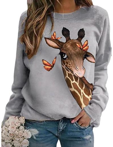 abordables Sweats à capuche et sweat-shirts-Femme Sweat à capuche Graphique 3D Girafe Imprimé Quotidien Impression 3D basique Simple Pulls Capuche Pulls molletonnés Blanche Noir Rose Claire