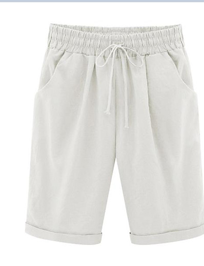 cheap Women's Bottoms-Women's Sporty Basic Soft Breathable Comfort Outdoor Casual Daily WorkWear Chinos Shorts Pants Solid Colored Knee Length Drawstring White Black Blushing Pink Khaki Light Blue