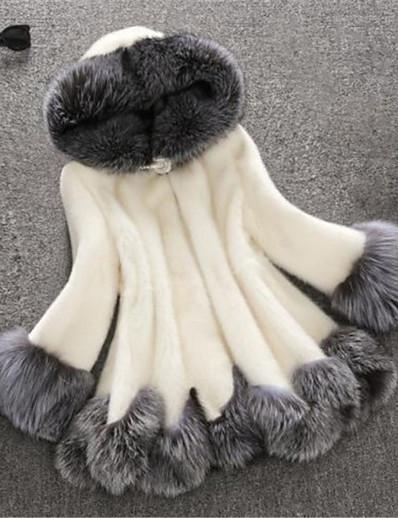abordables Fourrures & Cuirs Femme-Femme Manteau de fausse fourrure Longue Bloc de Couleur Casual Blanc Blanche Noir S M L XL