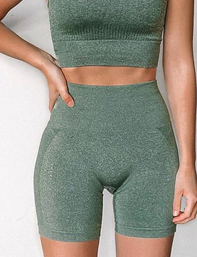 cheap Running, Jogging & Walking-Women's High Waist Compression Shorts Running Tight Shorts Athletic Shorts Bottoms Seamless Nylon Fitness Gym Workout Running Training Exercise Butt Lift Breathable Quick Dry Sport Solid Colored