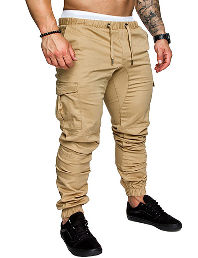 cheap Men's Bottoms-Men's Basic Sweatpants Tactical Cargo Cotton Plus Size Daily Pants Full Length Solid Colored Drawstring Blue Khaki Green White Light gray / Spring