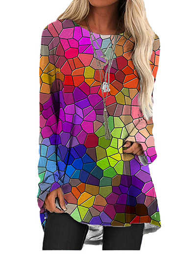 cheap 2021 TRENDS-Women's T Shirt Dress Tee Dress Short Mini Dress - Long Sleeve Print Color Block Print Spring Summer 3D Print Casual 3D Print Rainbow S M L XL XXL 3XL