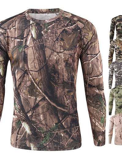 cheap Hunting Clothing-Men's Long Sleeve Camouflage Hunting T-shirt Tee Tshirt Outdoor Autumn / Fall Spring Summer Ultraviolet Resistant Quick Dry Sweat wicking Comfortable Terylene Camo Jungle camouflage ACU camouflage