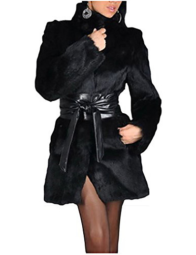 cheap Furs & Leathers-women winter coat long faux fur parka fashion warm black outerwear overcoat with belt