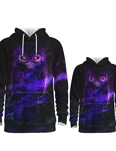 cheap Family Matching Outfits-Daddy and Me Hoodie & Sweatshirt Owl Graphic Optical Illusion Animal Print Long Sleeve Active Regular Purple