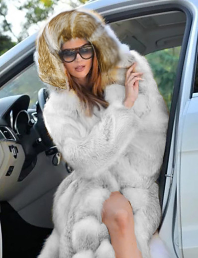 cheap Furs & Leathers-Women's Faux Fur Coat Daily Fall Winter Long Coat Loose Chic & Modern Elegant & Luxurious Jacket Long Sleeve Solid Colored Oversized White