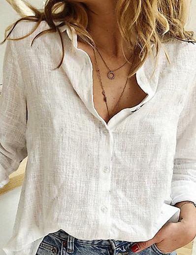 abordables Chemisiers et chemises-Blouse Chemise Femme Quotidien Intérieur Couleur Pleine Manches Longues Col de Chemise Hauts Standard Haut de base Blanche Noir Bleu