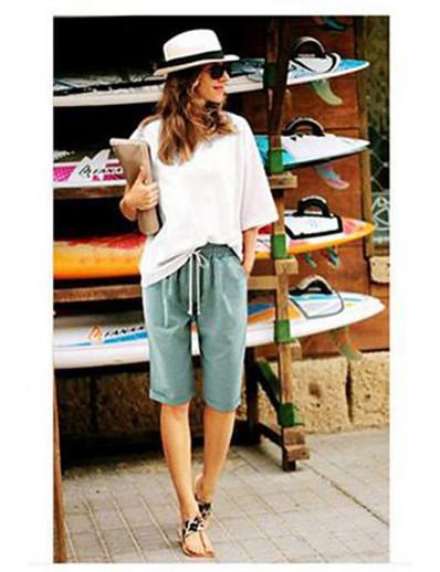 cheap Women's Bottoms-women's summer casual solid bermuda shorts knee length beach shorts