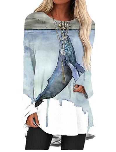 abordables Tendances 2021-Femme Robe T-shirt Mini robe Courte - Manches Longues Animal Imprimé Printemps Eté Motifs 3D Simple Impression 3D Bleu clair S M L XL XXL 3XL