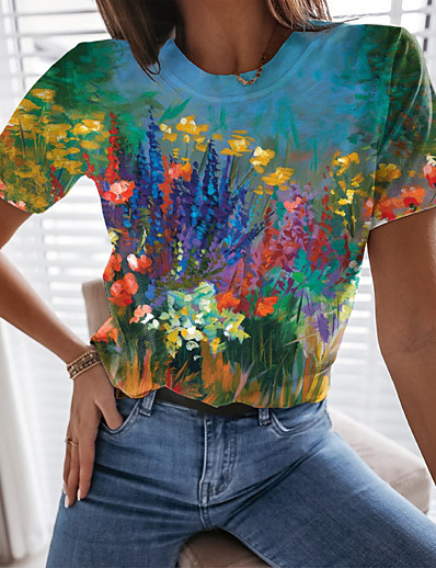 cheap Tees & T Shirts-Women's Floral Theme T shirt Floral Graphic Print Round Neck Tops Basic Basic Top Blue