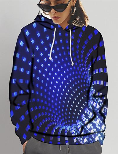 abordables Tendances 2021-Femme Sweat-shirt à capuche Graphique 3D Imprimé Quotidien Sortie Impression 3D basique Pulls Capuche Pulls molletonnés Bleu