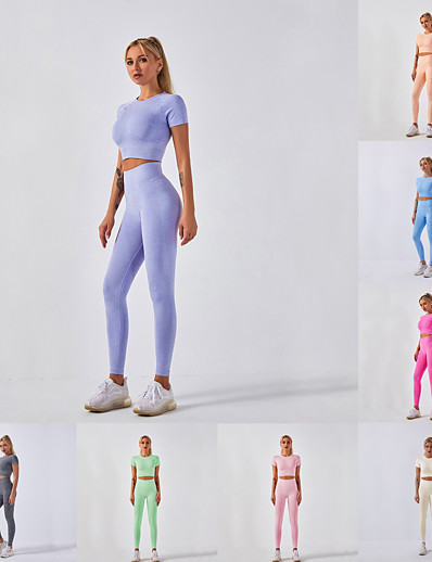 cheap Running, Jogging & Walking-Women's 2 Piece Athletic Athleisure Activewear Set Yoga Suit Compression Suit 2pcs Summer High Waist Quick Dry Breathable Soft Nylon Fitness Gym Workout Running Training Exercise Sportswear Solid
