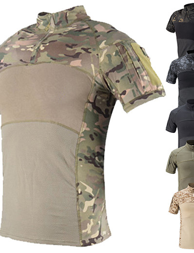 cheap Hunting Clothing-Men's Camo / Camouflage Hunting T-shirt Tee shirt Camo Shirt Combat Shirt Short Sleeve Outdoor Well-ventilated Quick Dry Breathability Breathable Summer Cotton Top Camping / Hiking Hunting Fishing