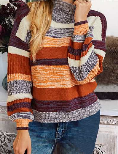 cheap Sweaters & Cardigans-Women's Basic Knitted Striped Pullover Acrylic Fibers Long Sleeve Sweater Cardigans Turtleneck Fall Winter Rainbow
