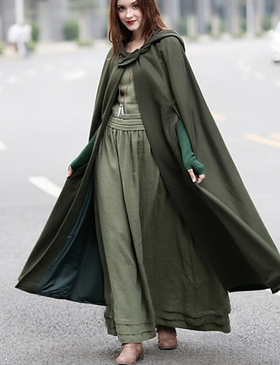 cheap Coats & Trench Coats-Women's Fall & Winter Single Breasted One-button Cloak /trench cape outwear/ Capes Long Solid Colored Daily Basic Black Blue Red Army Green S M L XL / Loose