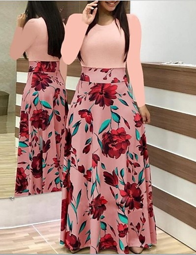cheap 2021 TRENDS-Women's Sheath Dress Maxi long Dress - Long Sleeve Floral Patchwork Print Spring Vintage 2021 Black Red Blushing Pink Green S M L XL XXL