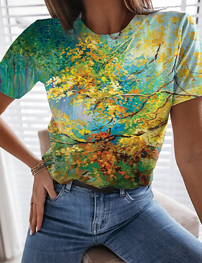 cheap Tees & T Shirts-Women's T shirt Graphic Leaf 3D Print Round Neck Tops Basic Basic Top Green