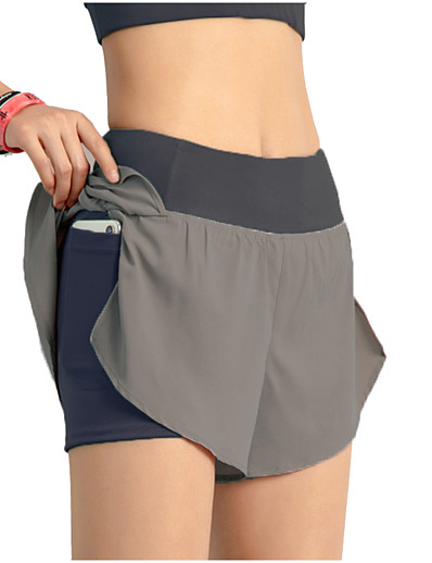 cheap Running, Jogging & Walking-INFLACHI Women's Running Shorts Bottoms 2 in 1 with Phone Pocket Liner Summer Gym Workout Marathon Running Jogging Trail Quick Dry Lightweight Breathable Sport Solid Colored Blushing Pink Blue Black