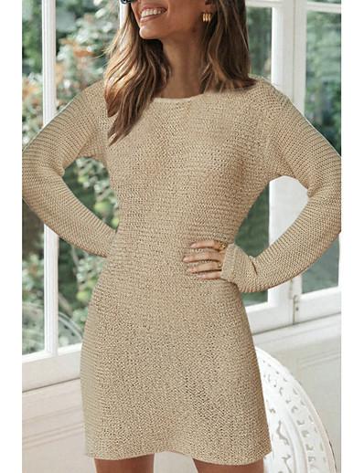 abordables Tendances 2021-Femme Robe Pull Robe courte courte Beige Manches Longues Couleur unie Automne Hiver Col Rond Simple Coton 2021 S M L XL