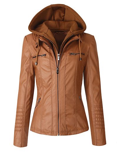 cheap OUTERWEAR-women's sparteens real leather jacket bomber removable hood for women brown