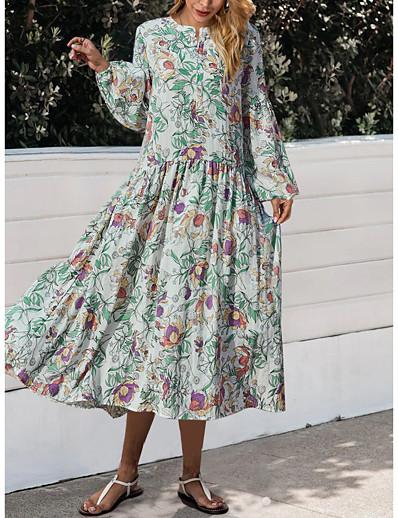 cheap Exclusive-Women's A Line Dress Midi Dress White Long Sleeve Floral Print Fall Winter Round Neck Elegant Casual Lantern Sleeve 2021 S M L XL