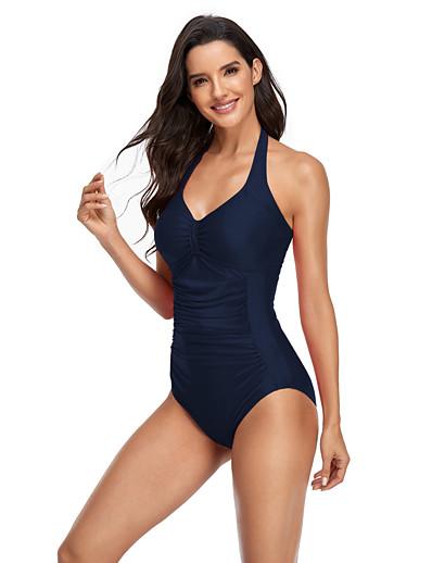 cheap Bikini Sets-Women's New Classic Sweet Romper Swimsuit Solid Color Stripe Racerback Open Back Print Padded Normal Strap Swimwear Bathing Suits Black Blue Red / One Piece / Tattoo